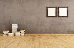 empty interior with books on a wooden floor - stock illustration