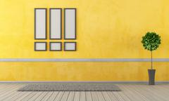 Empty yellow living room Stock Illustration