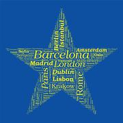 Star shaped european cities vector word cloud on white background Stock Illustration