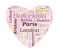 love shaped european cities vector word cloud on white background - stock illustration