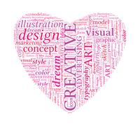 creative design love shaped vector typographic word cloud - stock illustration