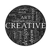 creative design concept - black and white word cloud in circle - stock illustration