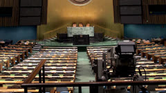UN General Assembly hall (UNGA) at its headquarters. NYC - stock footage