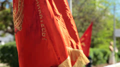 Communist Party Flags Stock Footage