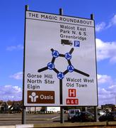 The magic roundabout roadsign. swindon. england Stock Photos