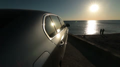 Summer Travel Destination - Car On The Beach - stock footage