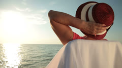 Backview of Senior Woman on the Beach Stock Footage
