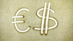 Exchange Euro Dollar, Sand Painting Stock Footage