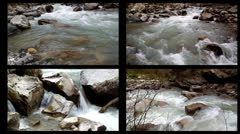 Mountain river flowing over rocks, four kinds of Stock Footage