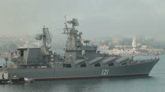 Moored missile cruiser Moscow Stock Footage