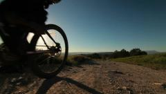 Cross-Country  Biking At Sunrise Stock Footage