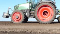 Tractor and Seeder Planting Crops Stock Footage