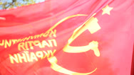 Stock Video Footage of Communist Party of Ukraine Flag