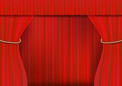 Red theater curtain Stock Illustration