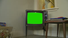 Old television with green chroma key (2)  property release Stock Footage