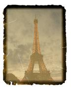 old photo paper texture with  vintage image of eiffel tower, paris, france - stock illustration