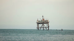 Oceanographic stationary platform in the Black Sea Stock Footage