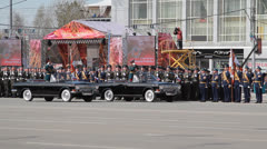 Parade in honor of great Patriotic War . Soldiers marching on the parade ground  Stock Footage