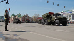 Display of military equipment. holiday, Victory Day  Stock Footage