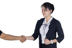 Business woman shake hand with her client Stock Photos
