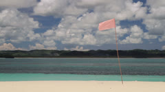 176 Pink flag, crystal clear sea water, coral reef, Stock Footage