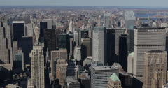 Ultra HD 4K Aerial View of New York City Skyline by day, Midtown Manhattan, USA Stock Footage