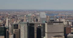 Ultra HD 4K Met Life Building, Aerial View of New York City Skyline by day Stock Footage