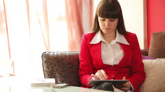 Businesswoman working and thinking about something Stock Footage