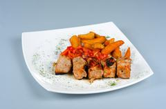 Grilled kebab pork meat Stock Photos