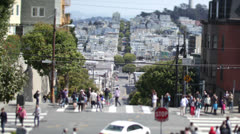 Time lapse of people and traffic on San Francisco's famous Lombard Street Stock Footage
