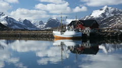 Fishing boat Lofoten Norway Stock Footage