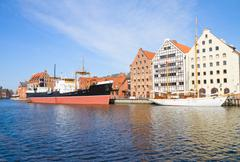 central maritime museum in gdansk at motlawa river - stock photo