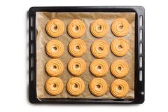 Sweet ring biscuit on baking tray Stock Photos