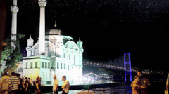 Bosphorus from Ortakoy at Night Stock Footage