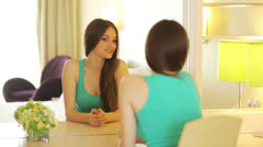 Stock Video Footage of Young woman looking in mirror image and smiling
