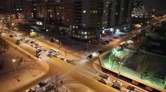 Night crossroads, Yekaterinburg, ul. Kuibyshev - st. Sheinkman Stock Footage