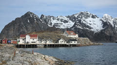 Coast village of Lofoten Norway Stock Footage