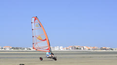 Costa on a windcar Stock Footage
