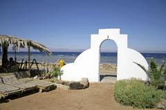 door archway into bedouin style guesthouse in dahab, red sea, sinai, egypt - stock photo