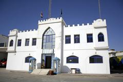 white castle police station in dahab, red sea, sinai, egypt - stock photo