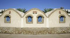 house on sea front in dahab, red sea, sinai, egypt - stock photo