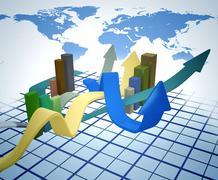 arrows graph - stock illustration