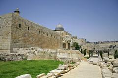 wailing western and southern wall, jerusalem, israel - stock photo