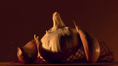 Garlic food still life Stock Footage