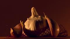 garlic food still life - stock footage