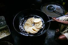 puris prepared in oil - stock photo