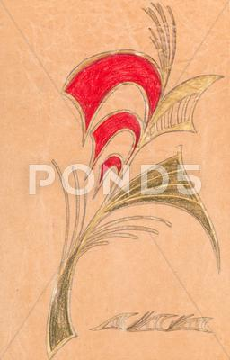 Stock Illustration of flower ornament on wrapping paper