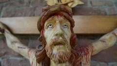 Very bloody scary jesus on the cross super close 10930 Stock Footage