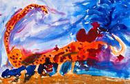 Child's paiting - scorpion in desert Stock Illustration
