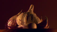 Garlic rotating still life Stock Footage